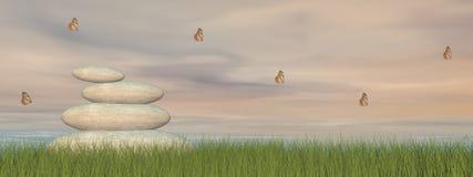 Pietre e pace di zen - 3D rendono Fotografia Stock