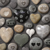 Pietre e rocce a forma di cuore Fotografie Stock