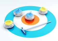 Pietre e spazzola d'arricciatura sul ghiaccio 3d rendono i cilindri di image Fotografia Stock Libera da Diritti