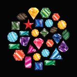 Pietre ed insieme di vettore dei cristalli Fotografia Stock