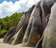Pietre enormi vicino all'oceano, Seychelles Immagini Stock Libere da Diritti
