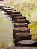 Pietre facenti un passo attraverso un fiume Immagini Stock Libere da Diritti