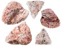 Pietre granitiche rosa della roccia e del granito dello gneiss Fotografie Stock Libere da Diritti