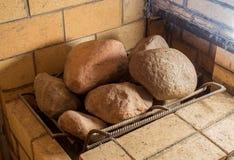 Pietre nella sauna finlandese Fotografie Stock