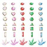 Pietre preziose e cristalli messi per creatività Royalty Illustrazione gratis