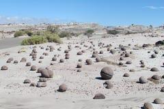Pietre rotonde in Ischigualasto immagine stock