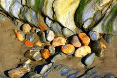 Pietre sulla spiaggia di Laxey Fotografia Stock