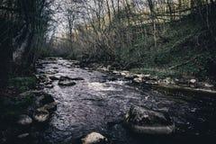 Pietre in un fiume Dukstos della montagna La Lituania, parco regionale di Neris immagine stock libera da diritti