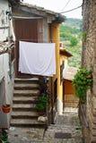 PIETRELCINA, ITALIEN - SEPTEMBER, 29: Kleine Straße von Pietrelcina mit weißer Katze und Leinen, am 29. September 2012 Stockfotografie