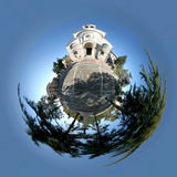 Pietrelcina Kircheplanet   Stockbilder