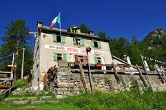 Pietro Crosta mountain hut. Divedro valley, Ossola, Italy Stock Image
