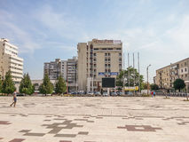 Pietroasa Hotel And Dacia Square From Buzau City Royalty Free Stock Images