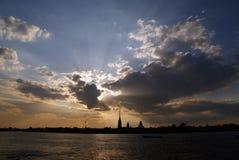 Pietroburgo, neva del fiume e fortezza st.peter Fotografie Stock