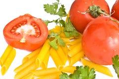 pietruszka makaronowi pomidory Zdjęcie Royalty Free