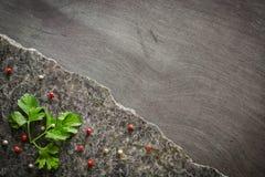 Pietruszka opuszcza na zmrok polerującym kamieniu z nieregularnym przełamem Przeciw tłu heban obraz royalty free