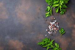 Pietruszka, sól i pieprz, tło kulinarny zdjęcia royalty free