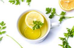 Pietruszki herbata z cytryny i wapna plasterkami Fotografia Stock