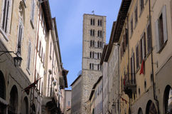 Pieve of Santa Maria in Arezzo. Pieve tower of Santa Maria in Arezzo city in Tuscany Royalty Free Stock Photo
