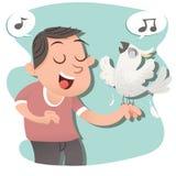 Śpiewa z ptakiem Zdjęcia Royalty Free