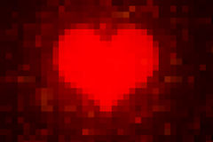 Piexlated Heart as Valentine's Day background Royalty Free Stock Photos