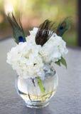 Pieza central blanca de la pluma de Hyndrangea y del pavo real Fotos de archivo