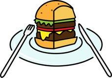 Pieza coloreada del icono de una hamburguesa con la ensalada y queso y chuleta en una placa con los dispositivos libre illustration