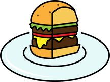 Pieza coloreada del icono de una hamburguesa con la ensalada y queso y chuleta en una placa ilustración del vector