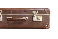Pieza de la maleta del marrón del vintage en el fondo blanco Imagenes de archivo