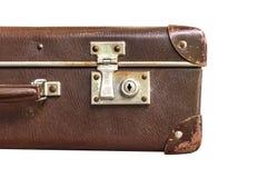 Pieza de la maleta del marrón del vintage en el fondo blanco Imágenes de archivo libres de regalías