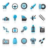 Pieza del coche e iconos 1 de los servicios Imagen de archivo