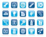Pieza del coche e iconos 1 de los servicios Foto de archivo libre de regalías