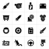 Pieza del coche e iconos negros de los servicios Fotografía de archivo libre de regalías