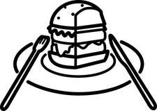 Pieza del icono de una hamburguesa con la ensalada y queso y chuleta en una placa con los dispositivos ilustración del vector