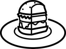 Pieza del icono de una hamburguesa con la ensalada y queso y chuleta en una placa libre illustration