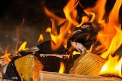 Pieza doblada de la leña de la hoguera de un cosiness casero bajo del registro de la llama del fondo brillante anaranjado brillan imagen de archivo
