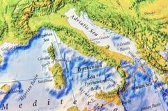 Pieza geográfica del mapa de Europa del cierre de Apennines Imagenes de archivo