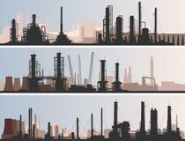 Pieza industrial de la bandera horizontal abstracta de la ciudad. Imagen de archivo libre de regalías