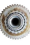 Piezas de acero aisladas del coche en el fondo blanco imagen de archivo