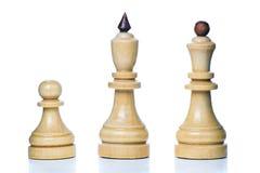Piezas de ajedrez de madera Imagen de archivo libre de regalías