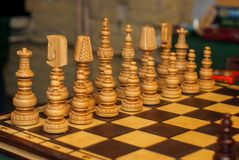 Piezas de ajedrez de madera Imagen de archivo