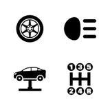 Piezas de automóvil Iconos relacionados simples del vector Fotos de archivo