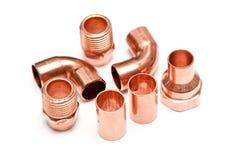 Piezas de cobre de la plomería Imagen de archivo libre de regalías