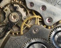 Piezas de cuerpos de plata del reloj de bolsillo del vintage de la antigüedad de la precisión del oro Fotografía de archivo