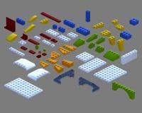 Piezas de Lego 3D stock de ilustración