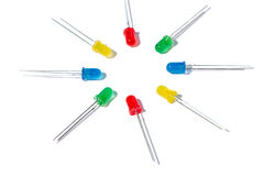 Piezas de un diodo electroluminoso en el fondo blanco Foto de archivo libre de regalías