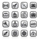 Piezas del coche e iconos blancos y negros de los servicios Imagen de archivo