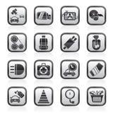 Piezas del coche e iconos blancos y negros de los servicios Imagenes de archivo
