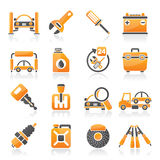 Piezas del coche e iconos de los servicios ilustración del vector