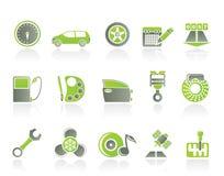 Piezas del coche, servicios e iconos de las características Fotos de archivo