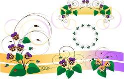 Piezas del diseño con los ramos de violeta-pensamiento. Detalle stock de ilustración